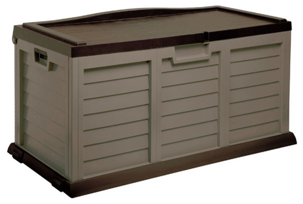 Good Deck Box With Seat, 103 Gallon, Mocha And Brown Deck Boxes And