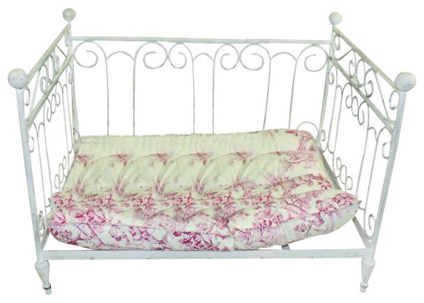 Antique Style Dog Pet Day Bed, White Iron Scroll Cream Cat Traditional Dog  Dr Livingstone I Presume Furniture