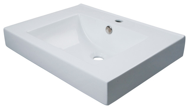 Mission White China Vessel Bathroom Sink With Overflow Hole And Faucet Hole.