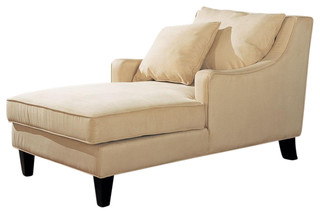 CO Fine Furniture Microfiber Sloping Track Arms Chaise Lounge With Lumbar Pil