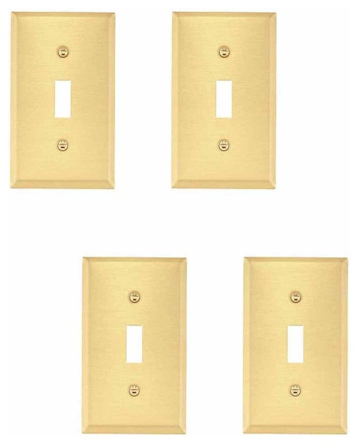 4 switch plate brushed brass single toggle dimmer transitional switch pla. Black Bedroom Furniture Sets. Home Design Ideas