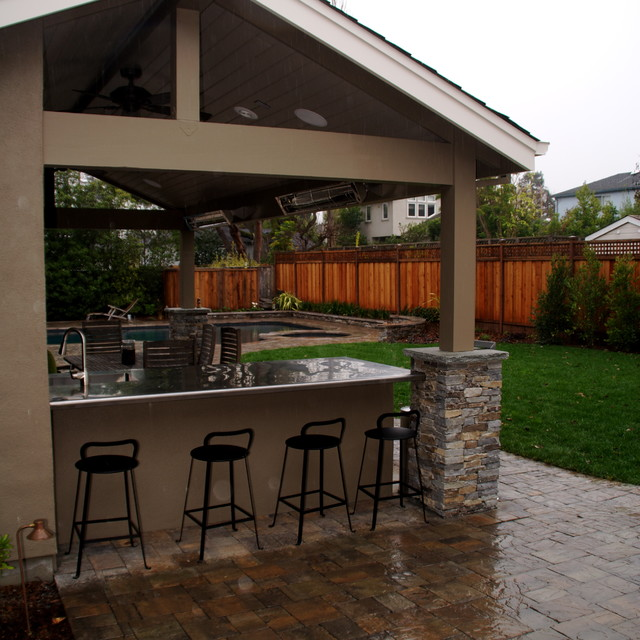 BBQ Counter, Pool House And Paver Patio Traditional Patio
