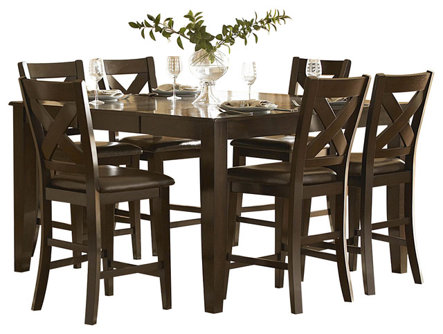 homelegance crown point 7piece counter height dining room set traditional diningsets