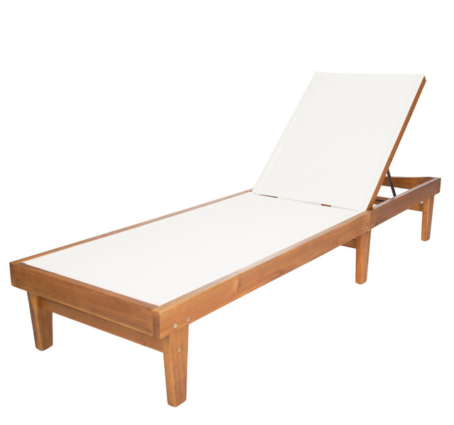 Della Outdoor Mesh Chaise Lounge With Acacia Wood Frame Teak White