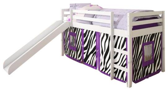 Kids Loft Bed With Slide And Purple Zebra Tent.