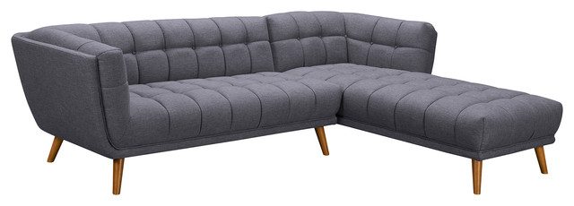 Belina Mid-Century Sectional, Champagne Wood Finish and Dark Gray Fabric