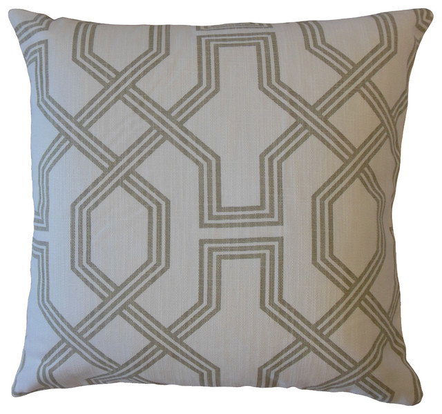 Eero Geometric Throw Pillow Pewter Contemporary Decorative Pillows By The Pillow Collection