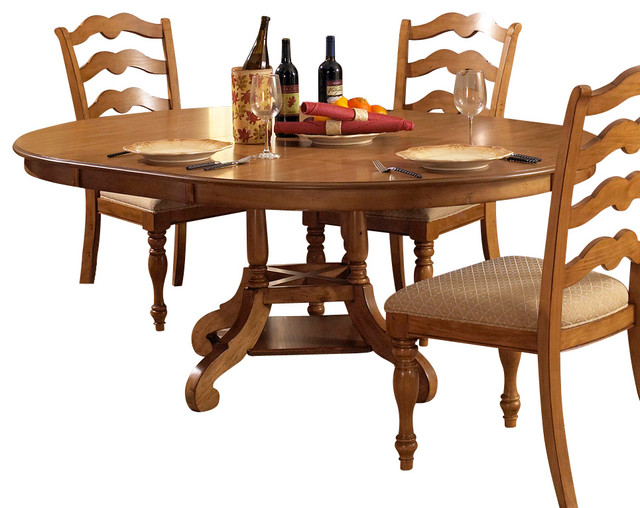 hillsdale hamptons round dining table with leaf in weathered pine traditional dining tables - Round Pine Kitchen Table