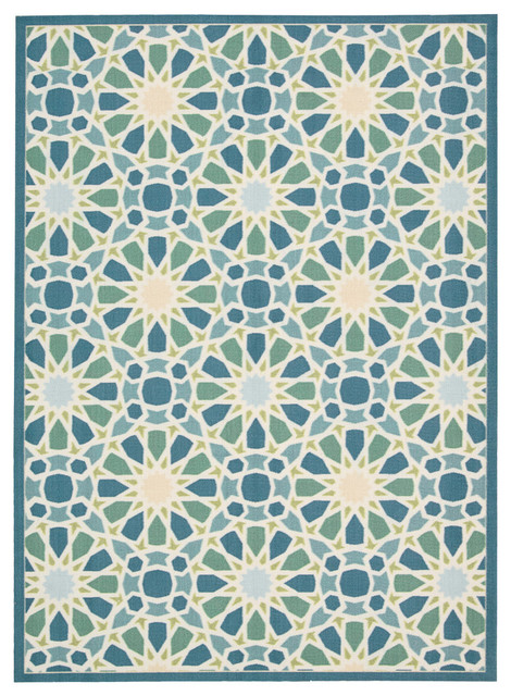 Summer Constellation Indoor/outdoor Rug, Porcelain, 7&x27;9x10&x27;10.