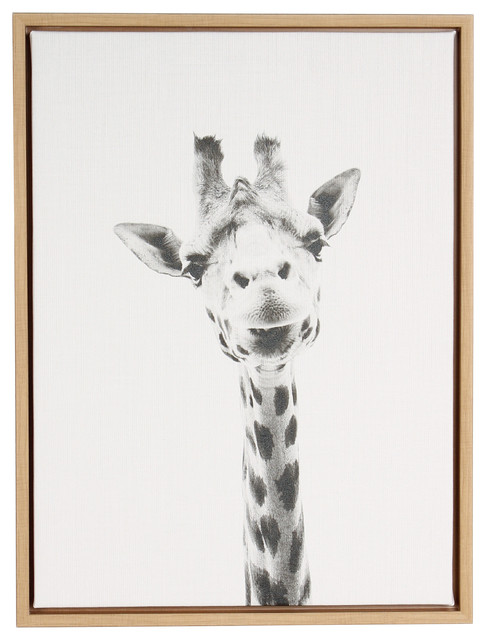 Giraffe Portrait Black and White Framed Canvas Wall Art
