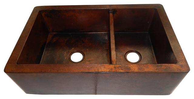 Apron Front Farmhouse Kitchen Double Bowl Mexican Copper Sink 60/40.
