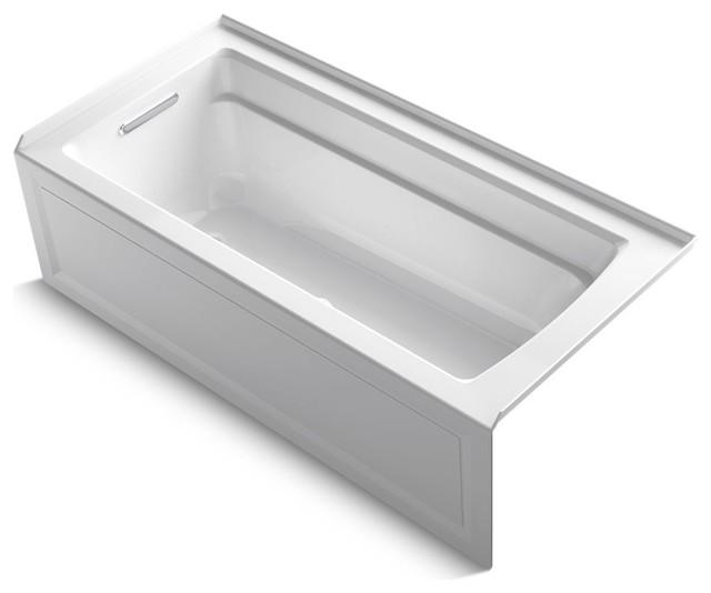 "Archer Alcove Bubblemassage Air Bath With Integral Apron, 66""x32"", White."