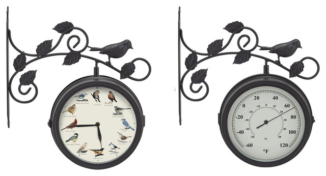 Decorative Outdoor Bird Clock/Thermometer modern-outdoor-clocks