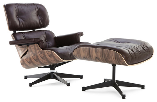 Classic Lounge Chair Replica, Brown, Walnut, Aniline