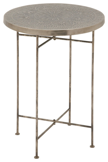 Robust metal wood round embossed table eclectic for Wood and metal bedside table
