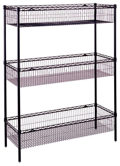 Wire Storage Unit W Basket Shelves In Black Contemporary Utility