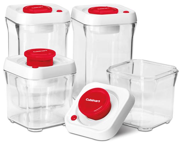 8 Piece Fresh Edge Vacuum Seal Food Storage Container Set, Red/White