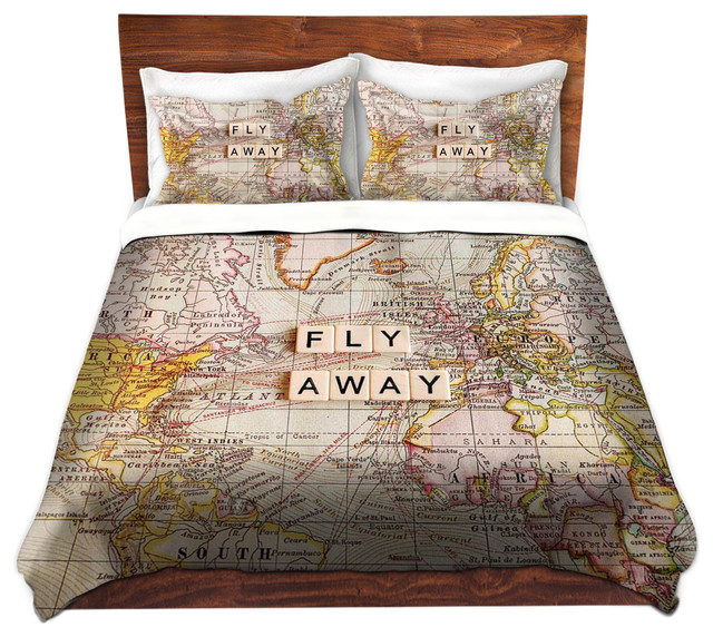 DiaNoche Duvet Covers Twill - Fly Away I contemporary-duvet-covers-and-