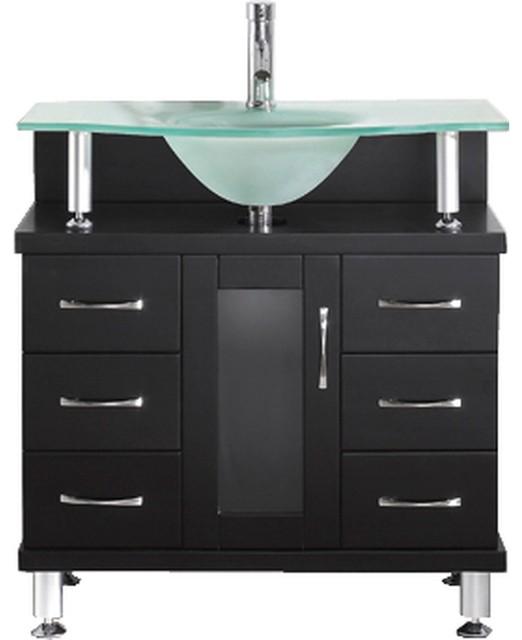 "Vincente 32"" Single Bathroom Vanity Set Espresso, Frosted Tempered Glass Top."
