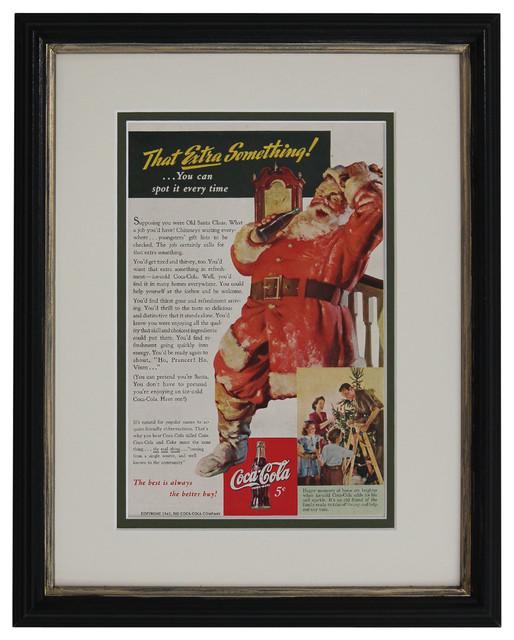 Original Vintage 1942 Santa Coca, Cola Christmas Ad Print