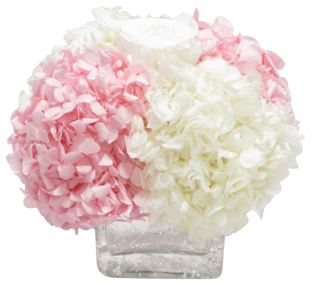 Cracked glass cube white rose hydrangea pink and white floral cracked glass cube white rose hydrangea pink and white floral arrangement mightylinksfo