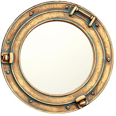 "11.5"" Polystone Porthole Mirror w/ Verdi Green Finish"