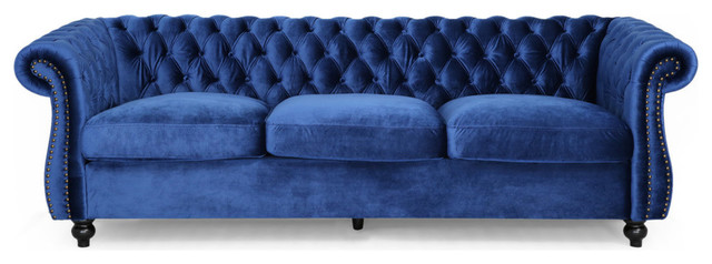 GDF Studio Vita Chesterfield Tufted Jewel Toned Velvet Sofa With Scroll Arms, Na