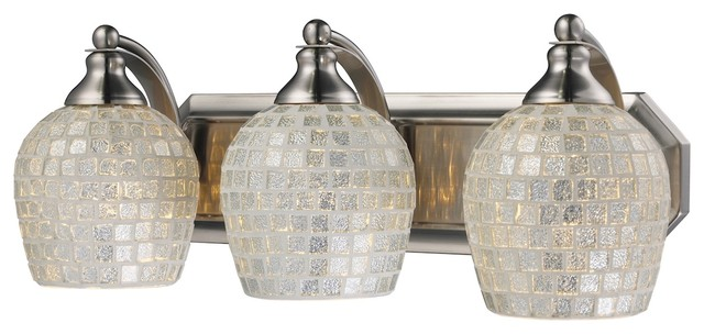 Eclectic 3 Light Vanity Light in Satin Nickel Finish