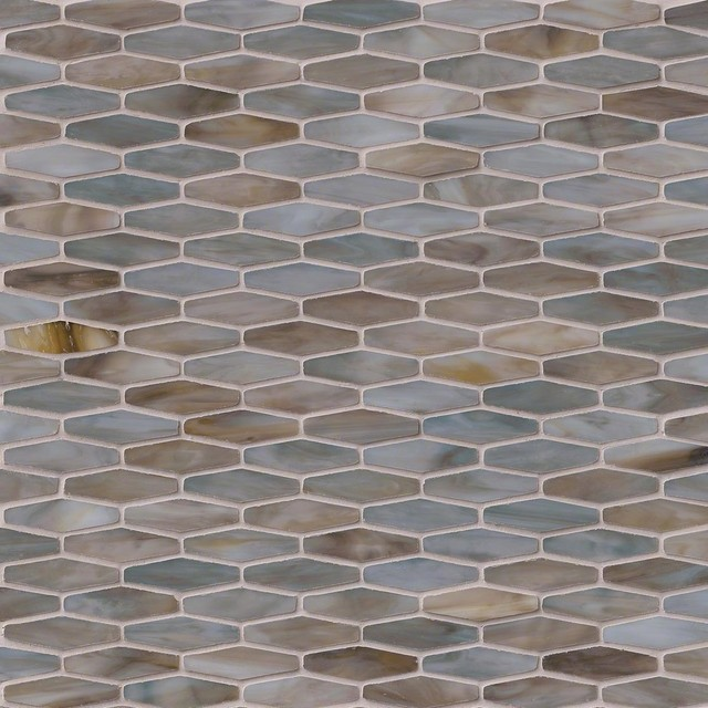 Mochachino Hexagons Pattern Stained Glass Mosaic Tiles