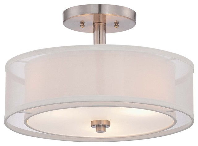 Parsons Studio 3-Light Semi-Flush Mount Brushed Nickel Translucent Silver L.