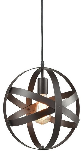 Industrial Metal Spherical Pendant Displays Changeable Hanging Lighting Fixture.
