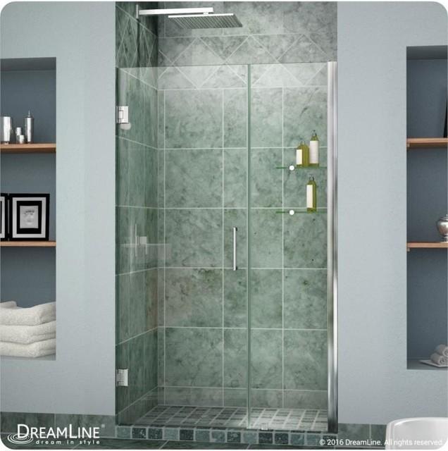 Unidoor Frameless Hinged Shower Door With Shelves, Oil Bronze, 48 by DreamLine