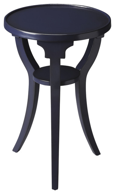 Dalton Navy Round Accent Table Contemporary Side Tables And End Tables
