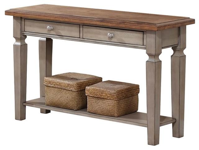 2-Drawer Sofa Table, Gray Finish.
