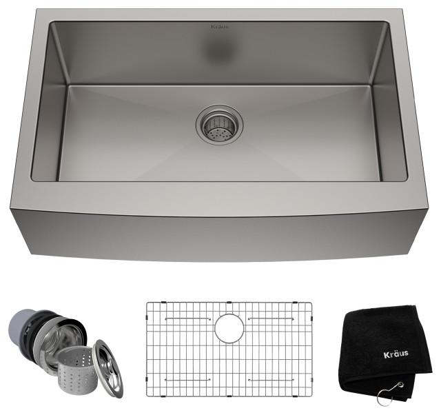 "33"" Farmhouse Apron Stainless Steel Kitchen Sink, Single Bowl 16 Gauge"