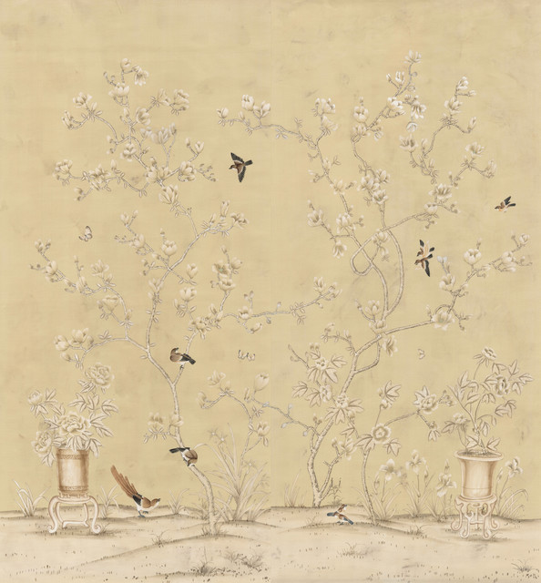 Chinoiserie wall mural chinese magnolia view in your for Asian wallpaper mural