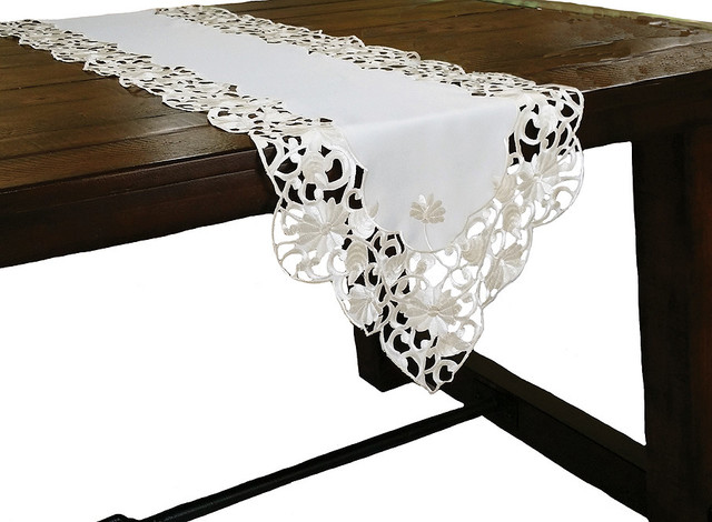 Daisy Lace Embroidered Cutwork Table Runner, 15x54 Traditional Table Runners