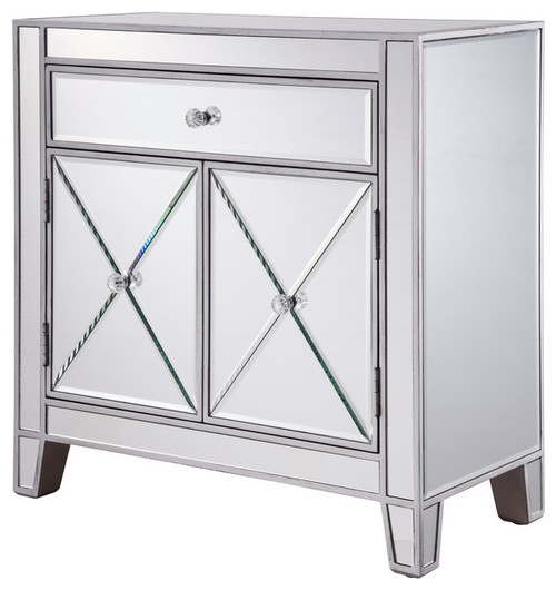 1-Drawer 2-Door Cabinet 28x13-1/4x28-1/4 Silver Paint by Elegant