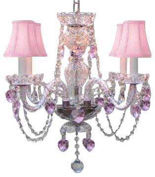 Swarovski Crystal Trimmed Chandelier With Crystal Pink Shades