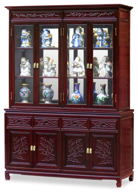 Flower and Bird Motif China Cabinet Asian Furniture