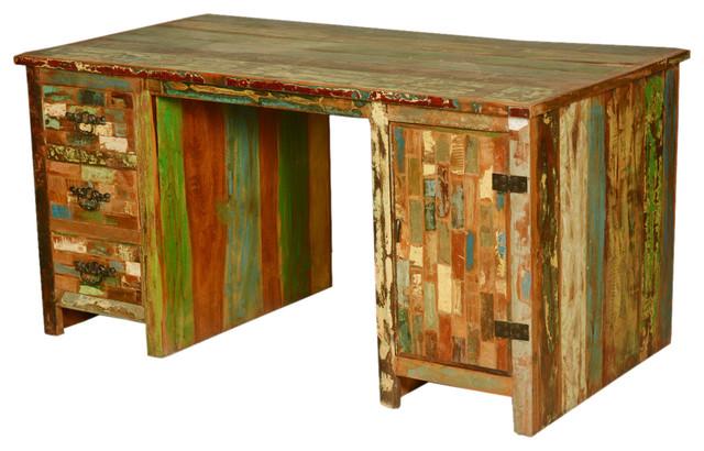 Modern Colors Reclaimed Wood Pedestal Desk Work Station.