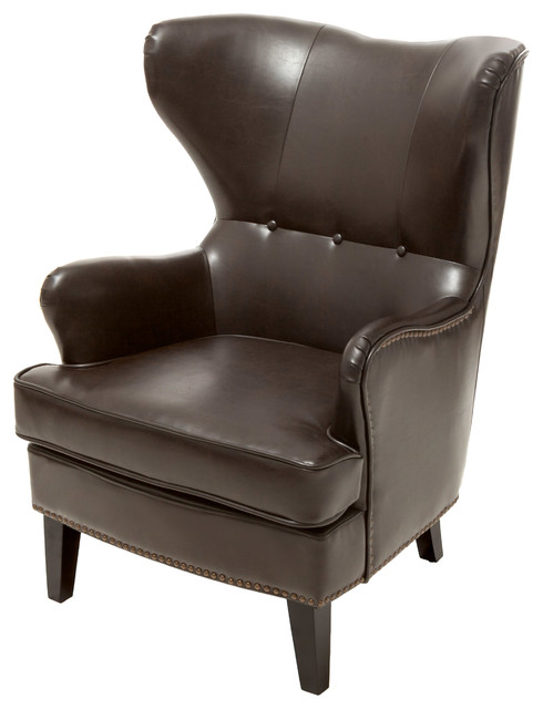 romford bonded leather wingback club chair brown