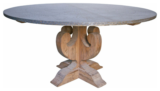 curlin dining table with hammered zinc top