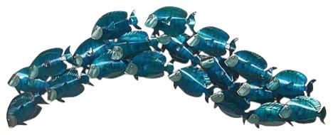 Large School Of Blue Tangs Wall Sculpture.