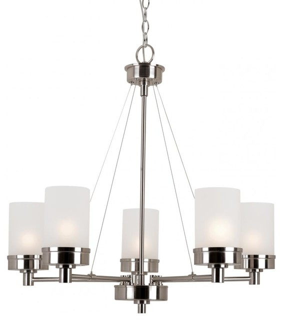 Five Light Brushed Nickel White Frosted Glass Up Chandelier