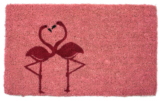 Flamingos Handwoven Coconut Fiber Doormat.