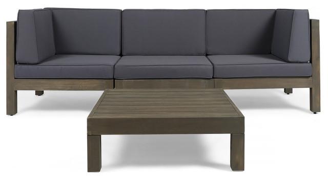 GDF Studio Keith Outdoor 3-Seat Acacia Sofa Set and Coffee Table, Gray/Dark  Gray