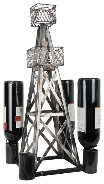 Steel Handmade Oil Derrick Wine Rack.