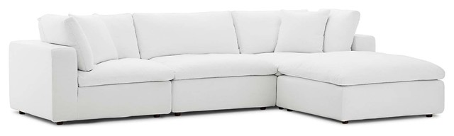 Commix Down Filled Overstuffed 4 Piece Sectional Sofa Set, White