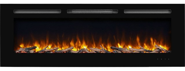 "Puraflame 60"" Alice In, Wall Recessed Electric Fireplace, Touch Screen Control."